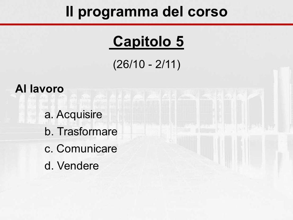 Il programma del corso Capitolo 5 (26/10 - 2/11) Al lavoro a. Acquisire b. Trasformare c. Comunicare d. Vendere