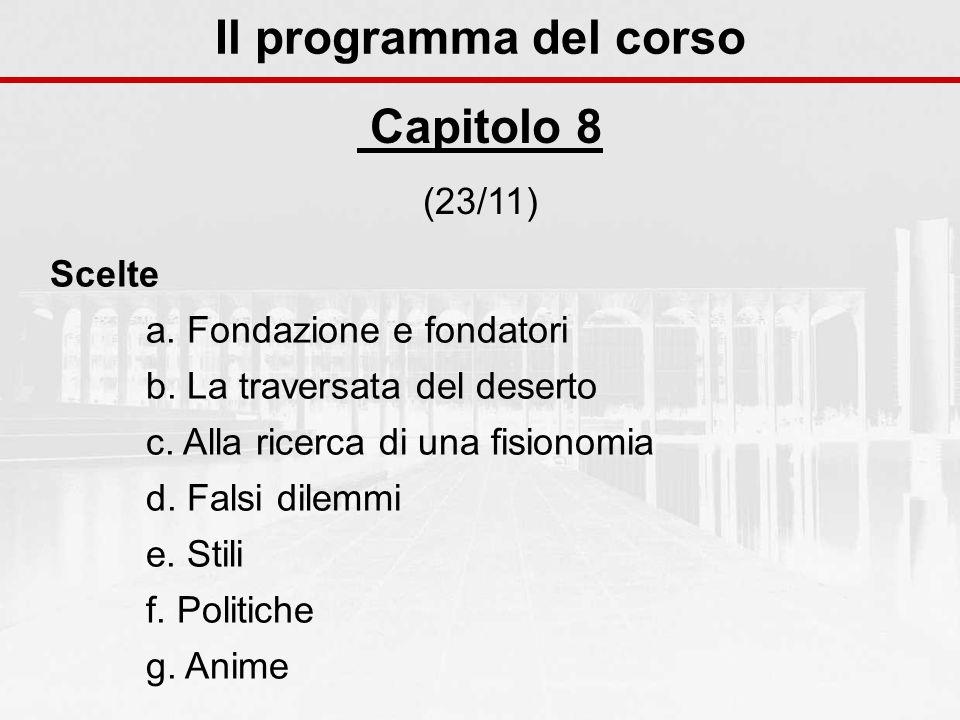 Il programma del corso Capitolo 8 (23/11) Scelte a.