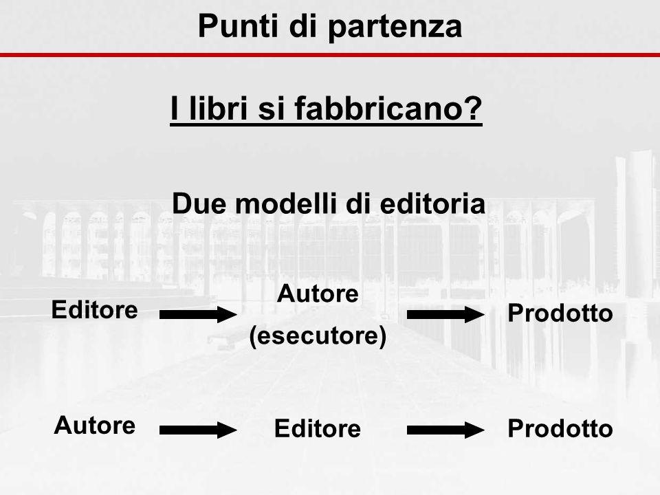 Punti di partenza I libri si fabbricano? Editore Autore (esecutore) Prodotto Autore EditoreProdotto Due modelli di editoria