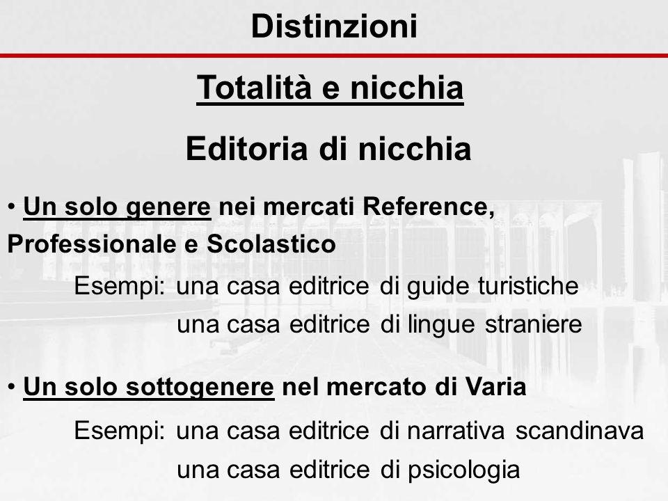 Distinzioni Totalità e nicchia Un solo genere nei mercati Reference, Professionale e Scolastico Esempi: una casa editrice di guide turistiche una casa