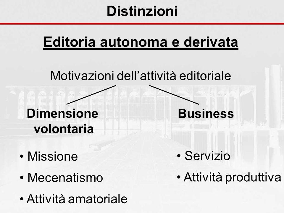 Distinzioni Editoria autonoma e derivata Motivazioni dellattività editoriale Dimensione volontaria Missione Mecenatismo Attività amatoriale Servizio Attività produttiva Business
