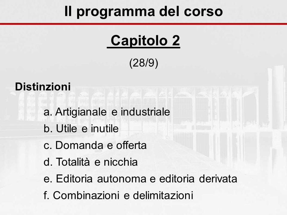 Il programma del corso Capitolo 2 (28/9) Distinzioni a. Artigianale e industriale b. Utile e inutile c. Domanda e offerta d. Totalità e nicchia e. Edi