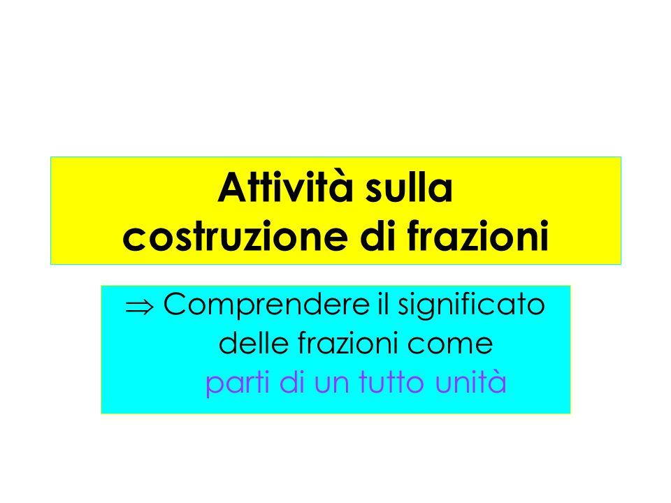 Attività sulla costruzione di frazioni Comprendere il significato delle frazioni come parti di un tutto unità
