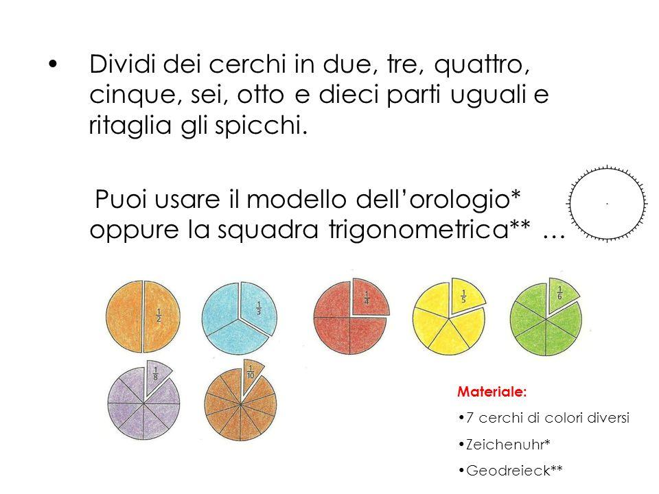 Dividi dei cerchi in due, tre, quattro, cinque, sei, otto e dieci parti uguali e ritaglia gli spicchi. Puoi usare il modello dellorologio* oppure la s