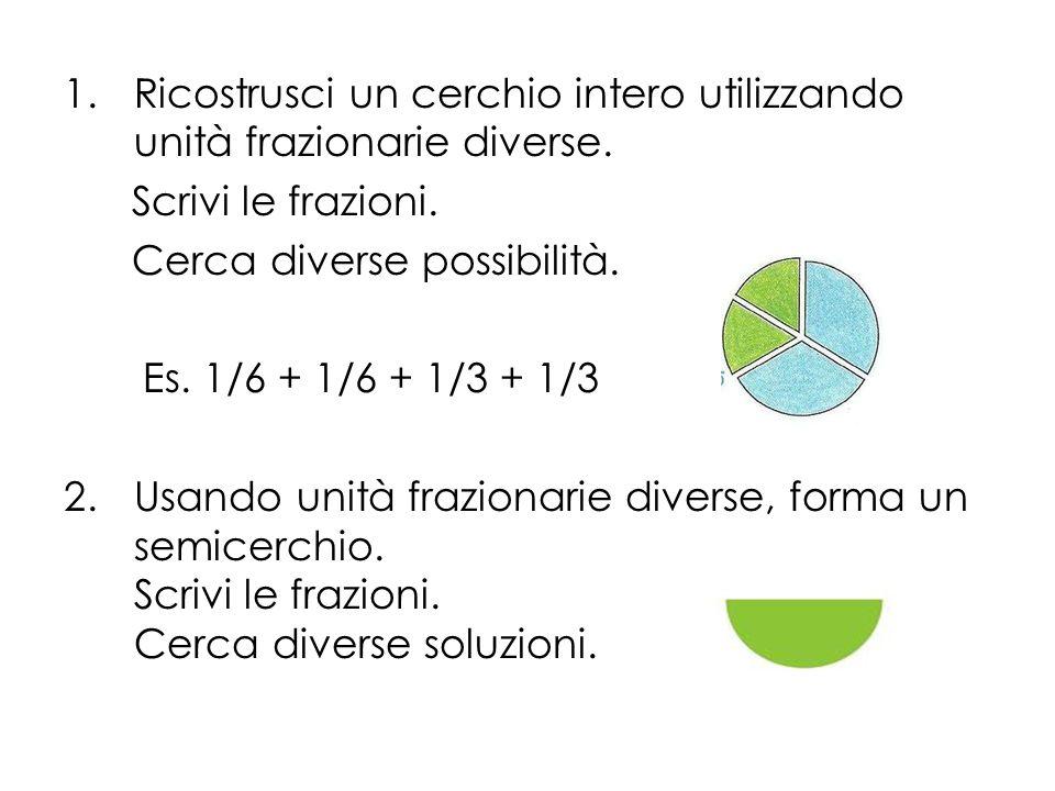 1.Ricostrusci un cerchio intero utilizzando unità frazionarie diverse. Scrivi le frazioni. Cerca diverse possibilità. Es. 1/6 + 1/6 + 1/3 + 1/3 2.Usan