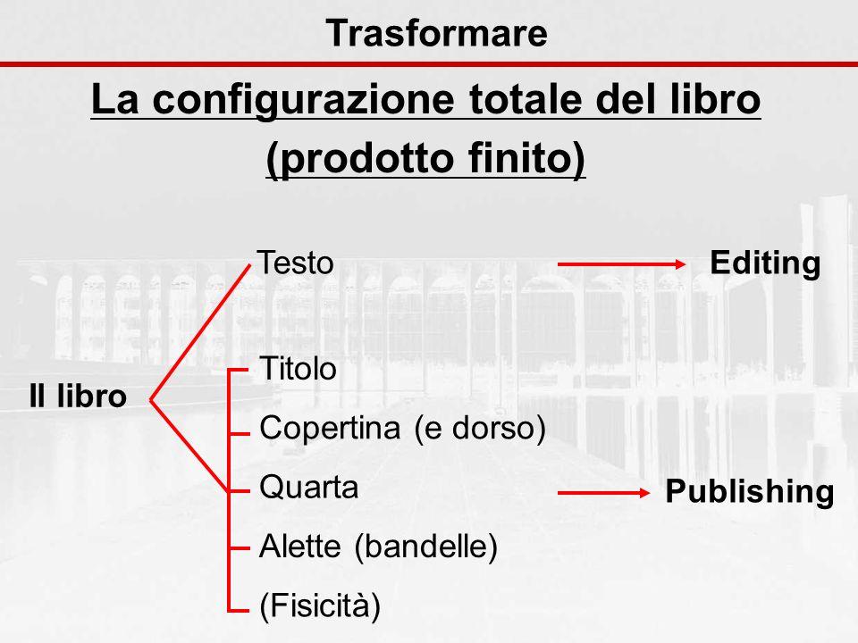 La configurazione totale del libro (prodotto finito) Trasformare Il libro Testo Titolo Copertina (e dorso) Quarta Alette (bandelle) (Fisicità)Editing