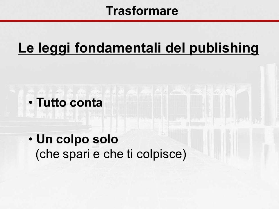 Le leggi fondamentali del publishing Trasformare Tutto conta Un colpo solo (che spari e che ti colpisce)