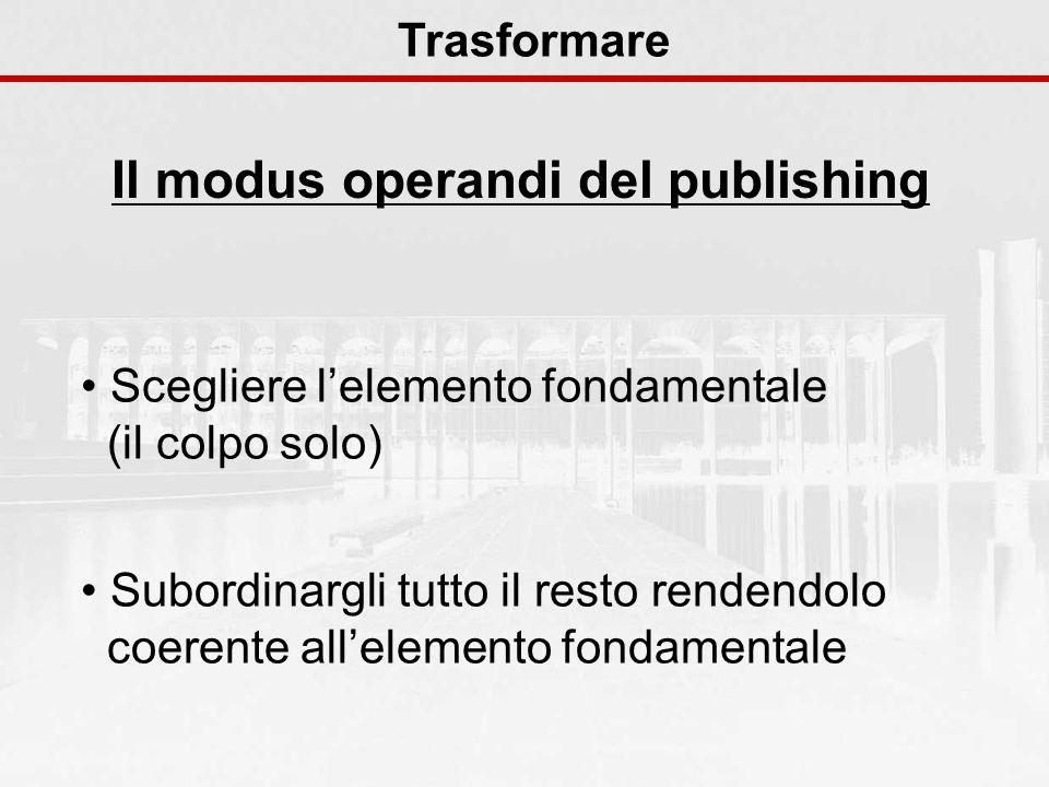 Il modus operandi del publishing Trasformare Scegliere lelemento fondamentale (il colpo solo) Subordinargli tutto il resto rendendolo coerente allelem