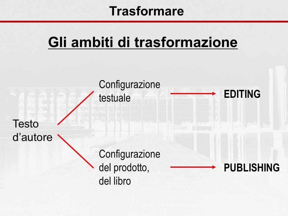 Gli ambiti di trasformazione Trasformare Testo dautore Configurazione testuale Configurazione del prodotto, del libro EDITING PUBLISHING