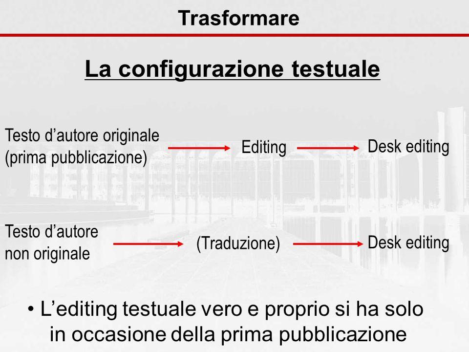 La configurazione testuale Trasformare Testo dautore originale (prima pubblicazione) Editing Desk editing Testo dautore non originale (Traduzione) Des