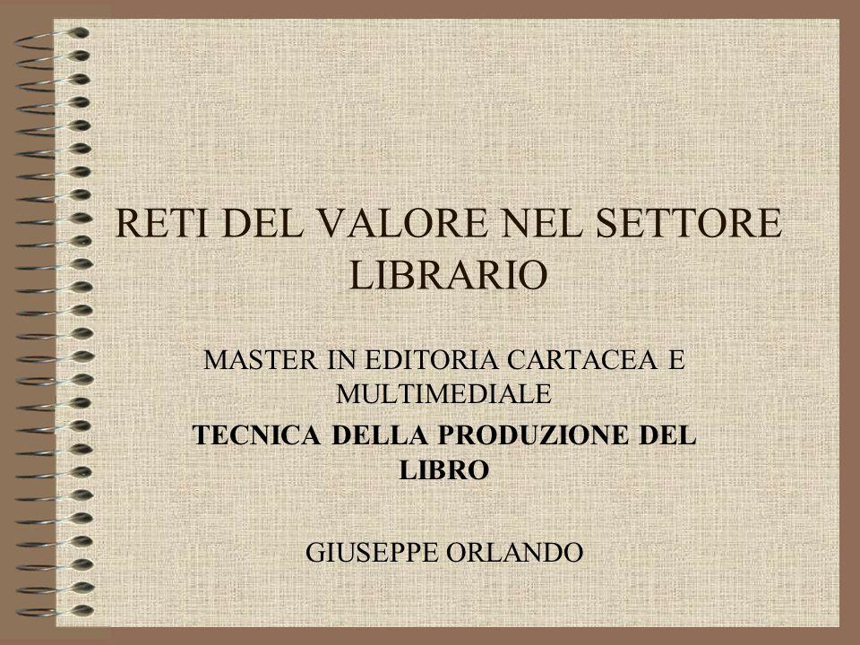 RETI DEL VALORE NEL SETTORE LIBRARIO MASTER IN EDITORIA CARTACEA E MULTIMEDIALE TECNICA DELLA PRODUZIONE DEL LIBRO GIUSEPPE ORLANDO