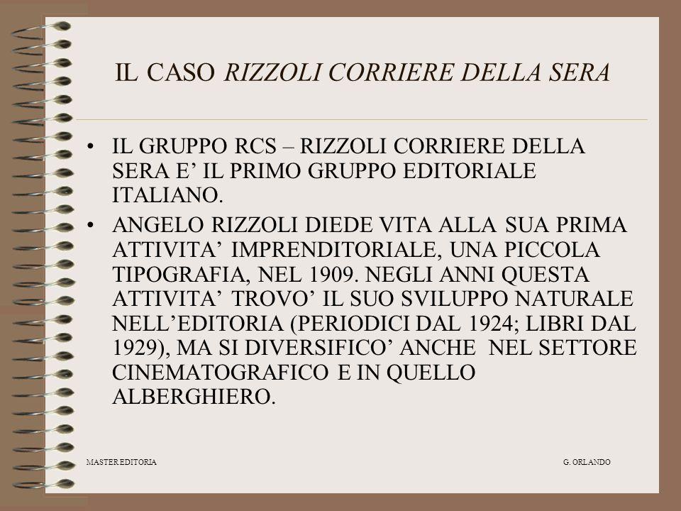 MASTER EDITORIA G. ORLANDO IL CASO RIZZOLI CORRIERE DELLA SERA IL GRUPPO RCS – RIZZOLI CORRIERE DELLA SERA E IL PRIMO GRUPPO EDITORIALE ITALIANO. ANGE