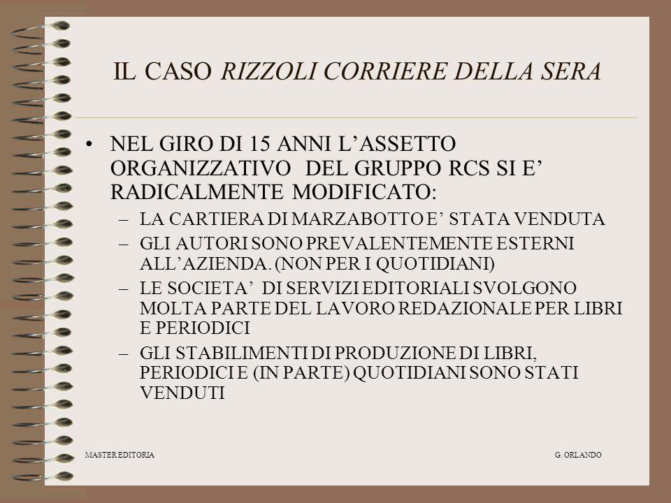 MASTER EDITORIA G. ORLANDO IL CASO RIZZOLI CORRIERE DELLA SERA NEL GIRO DI 15 ANNI LASSETTO ORGANIZZATIVO DEL GRUPPO RCS SI E RADICALMENTE MODIFICATO: