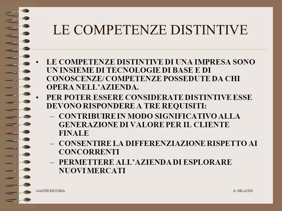 MASTER EDITORIA G. ORLANDO LE COMPETENZE DISTINTIVE LE COMPETENZE DISTINTIVE DI UNA IMPRESA SONO UN INSIEME DI TECNOLOGIE DI BASE E DI CONOSCENZE/ COM