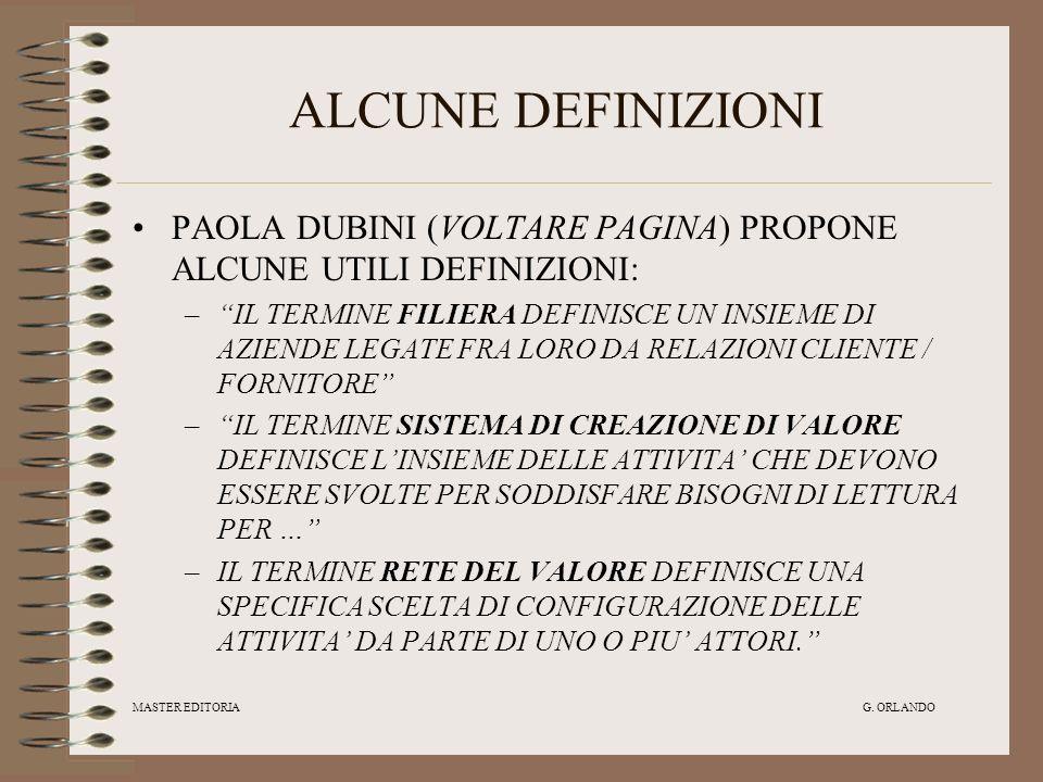 MASTER EDITORIA G. ORLANDO ALCUNE DEFINIZIONI PAOLA DUBINI (VOLTARE PAGINA) PROPONE ALCUNE UTILI DEFINIZIONI: –IL TERMINE FILIERA DEFINISCE UN INSIEME