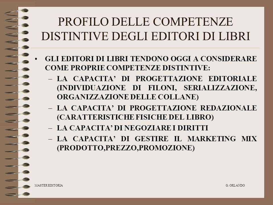 MASTER EDITORIA G. ORLANDO PROFILO DELLE COMPETENZE DISTINTIVE DEGLI EDITORI DI LIBRI GLI EDITORI DI LIBRI TENDONO OGGI A CONSIDERARE COME PROPRIE COM