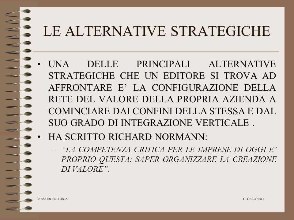 MASTER EDITORIA G. ORLANDO LE ALTERNATIVE STRATEGICHE UNA DELLE PRINCIPALI ALTERNATIVE STRATEGICHE CHE UN EDITORE SI TROVA AD AFFRONTARE E LA CONFIGUR