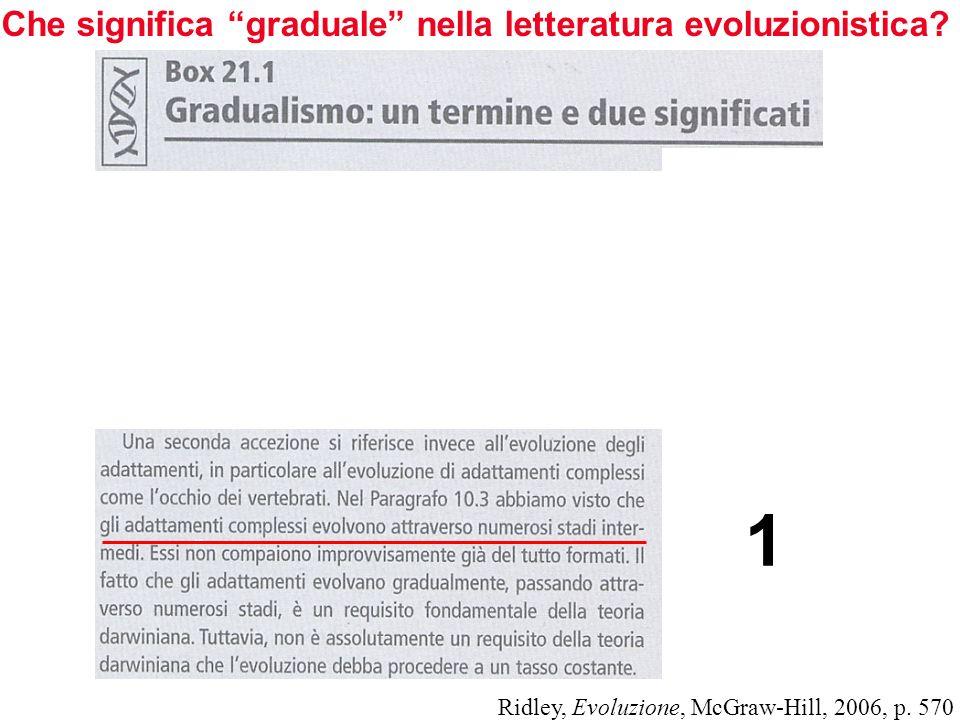 Che significa graduale nella letteratura evoluzionistica? Ridley, Evoluzione, McGraw-Hill, 2006, p. 570 1