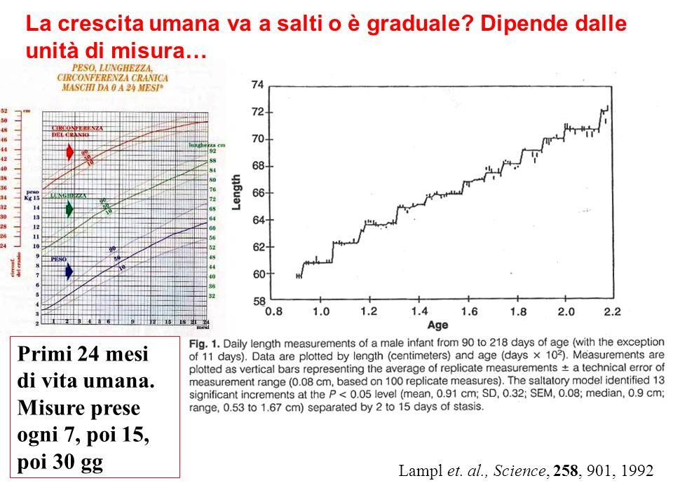 La crescita umana va a salti o è graduale? Dipende dalle unità di misura… Primi 24 mesi di vita umana. Misure prese ogni 7, poi 15, poi 30 gg Lampl et