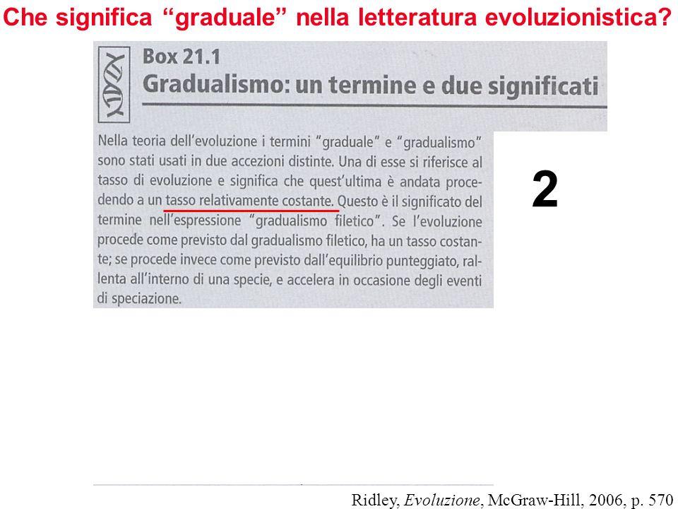 Che significa graduale nella letteratura evoluzionistica? Ridley, Evoluzione, McGraw-Hill, 2006, p. 570 2
