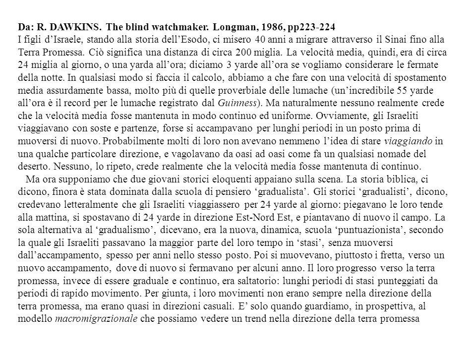 Da: R. DAWKINS. The blind watchmaker. Longman, 1986, pp223-224 I figli dIsraele, stando alla storia dellEsodo, ci misero 40 anni a migrare attraverso