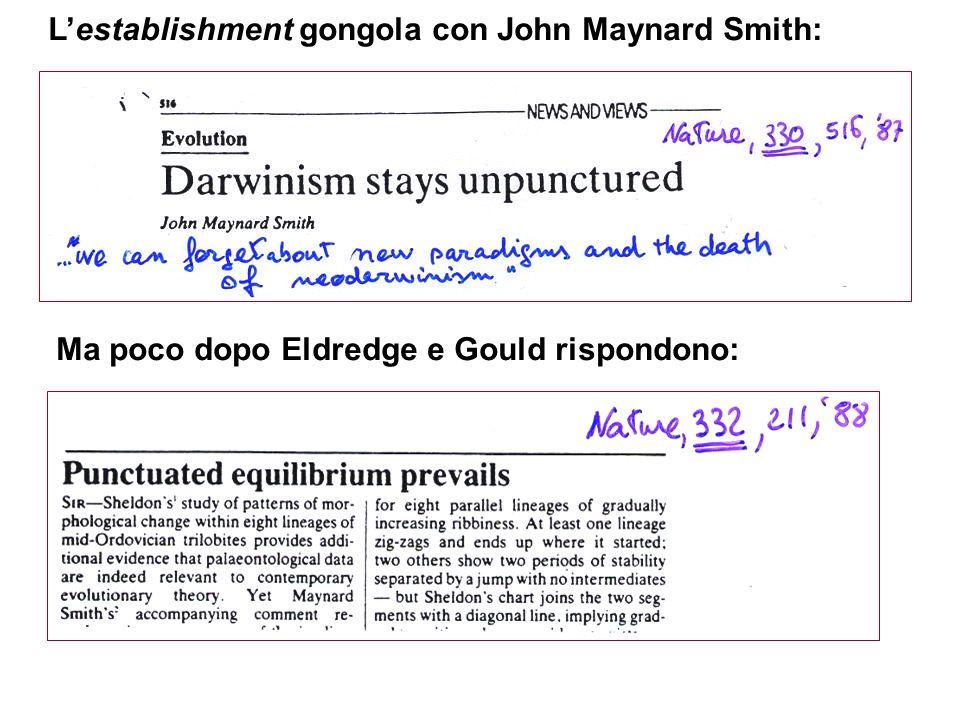 Lestablishment gongola con John Maynard Smith: Ma poco dopo Eldredge e Gould rispondono: