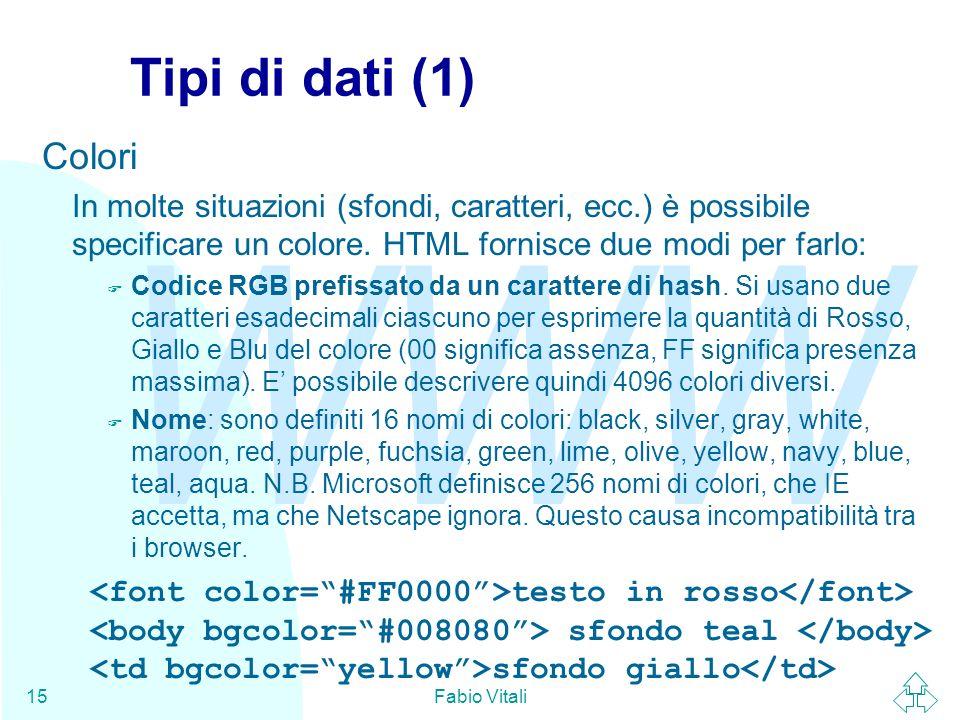 WWW Fabio Vitali15 Tipi di dati (1) Colori In molte situazioni (sfondi, caratteri, ecc.) è possibile specificare un colore. HTML fornisce due modi per