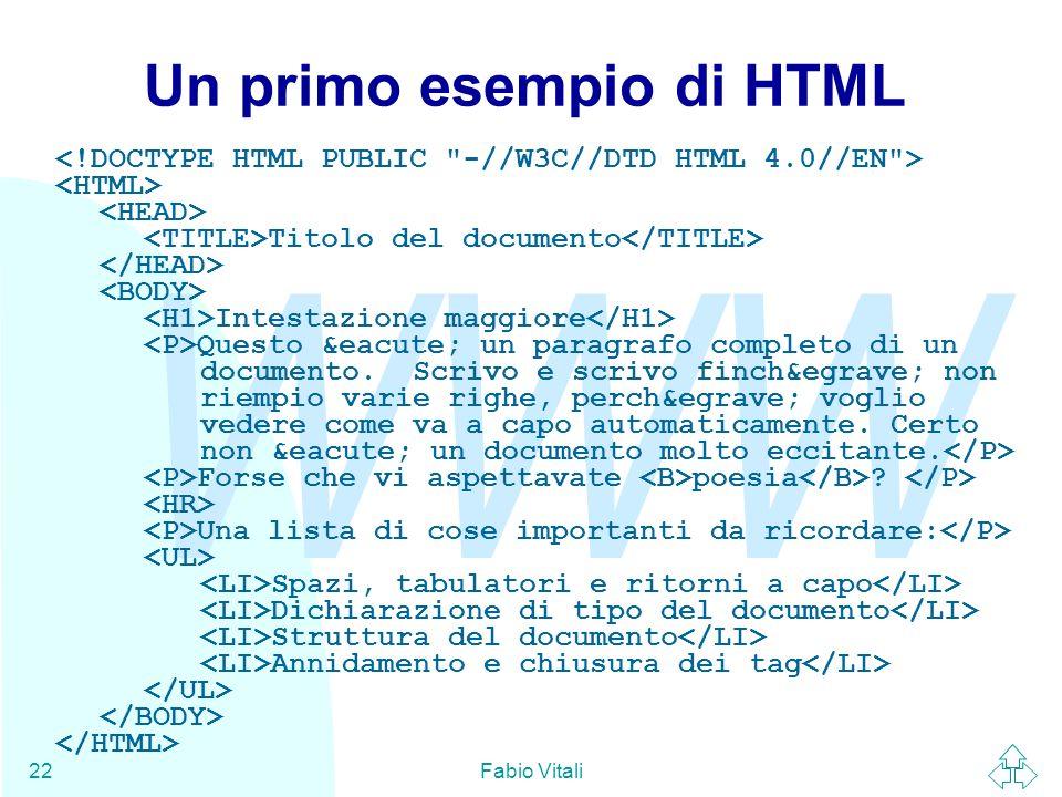 WWW Fabio Vitali22 Un primo esempio di HTML Titolo del documento Intestazione maggiore Questo é un paragrafo completo di un documento. Scrivo e