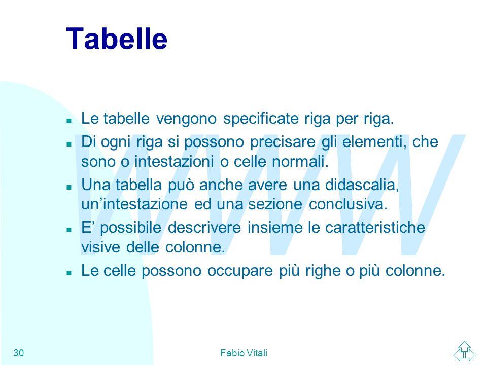 WWW Fabio Vitali30 Tabelle n Le tabelle vengono specificate riga per riga. n Di ogni riga si possono precisare gli elementi, che sono o intestazioni o