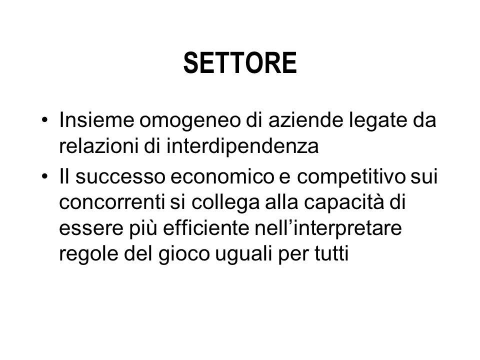 SETTORE Insieme omogeneo di aziende legate da relazioni di interdipendenza Il successo economico e competitivo sui concorrenti si collega alla capacità di essere più efficiente nellinterpretare regole del gioco uguali per tutti