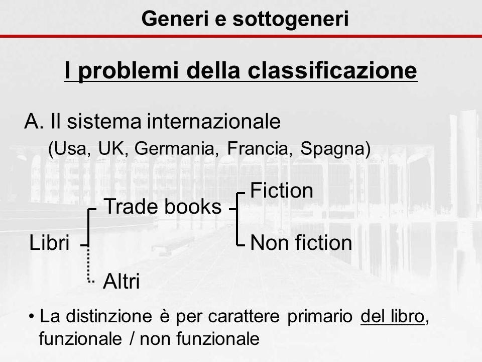 Generi e sottogeneri I problemi della classificazione A. Il sistema internazionale (Usa, UK, Germania, Francia, Spagna) Libri Trade books Altri Fictio