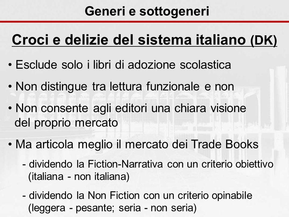 Generi e sottogeneri Croci e delizie del sistema italiano (DK) Esclude solo i libri di adozione scolastica Non distingue tra lettura funzionale e non