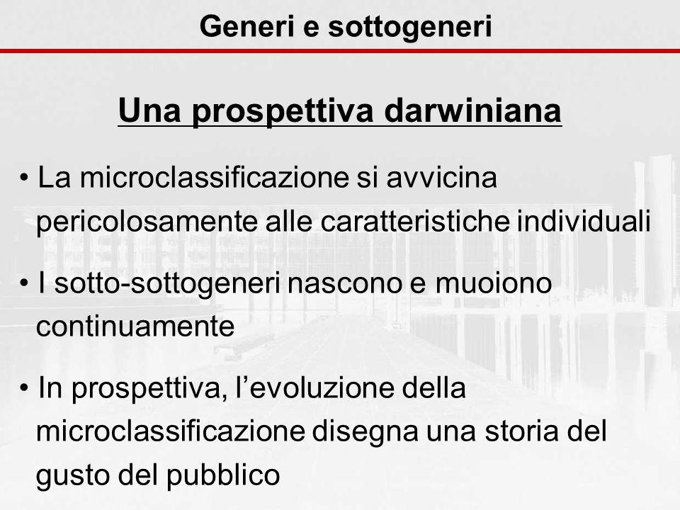 Generi e sottogeneri Una prospettiva darwiniana La microclassificazione si avvicina pericolosamente alle caratteristiche individuali I sotto-sottogene