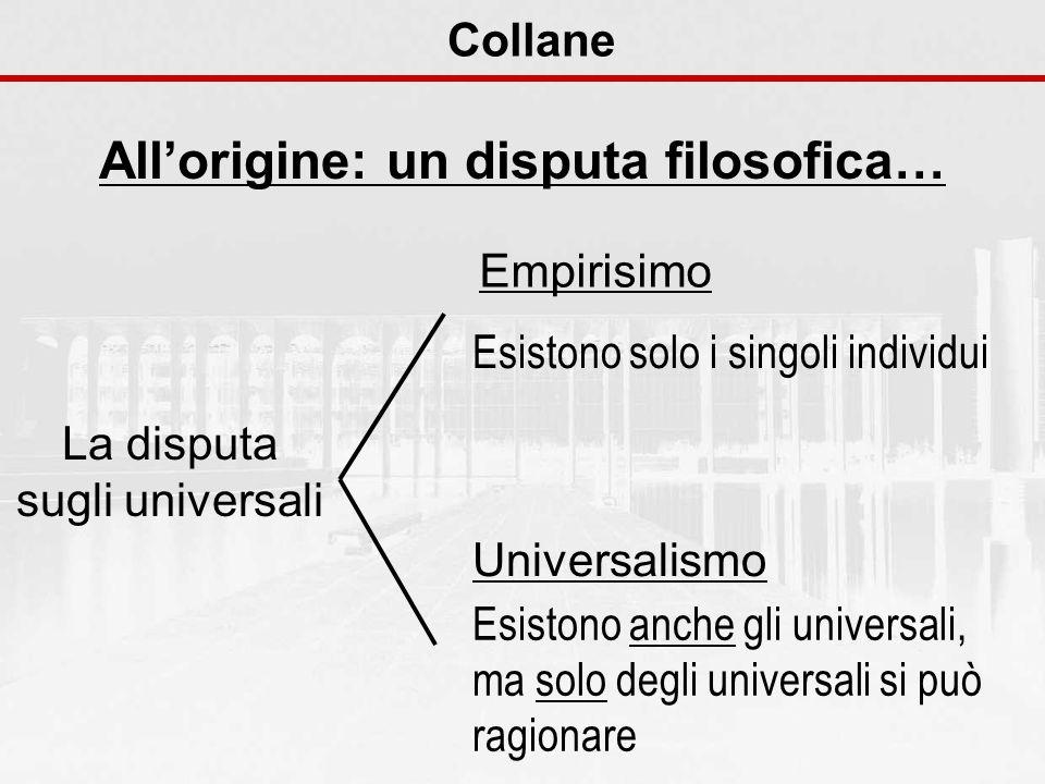 Collane Allorigine: un disputa filosofica… La disputa sugli universali Esistono solo i singoli individui Empirisimo Esistono anche gli universali, ma solo degli universali si può ragionare Universalismo