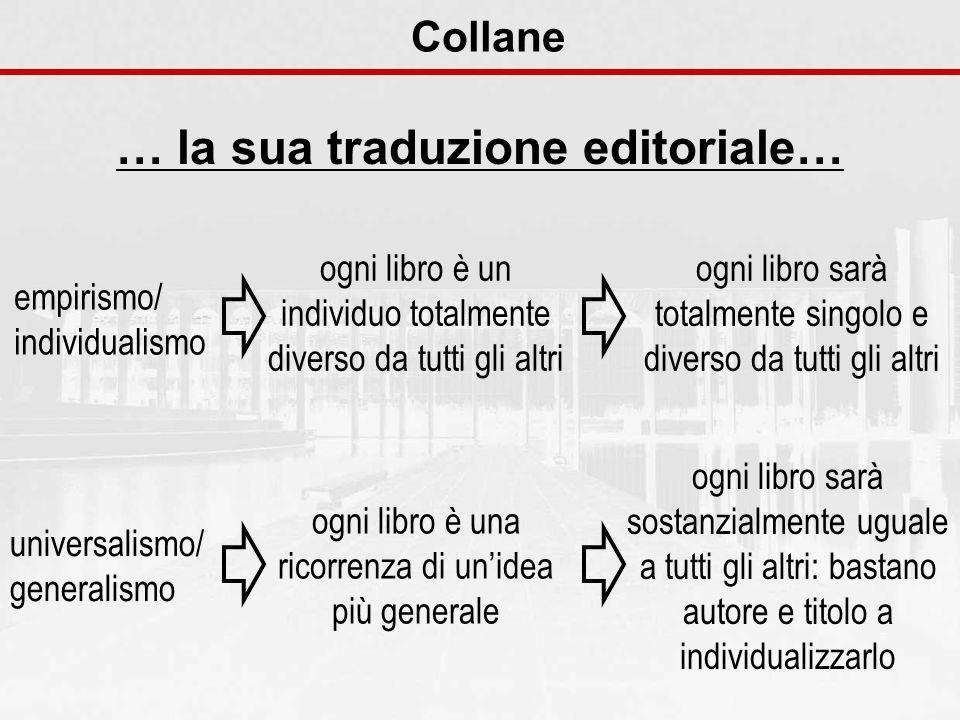 Collane … la sua traduzione editoriale… universalismo/ generalismo ogni libro è una ricorrenza di unidea più generale ogni libro sarà sostanzialmente
