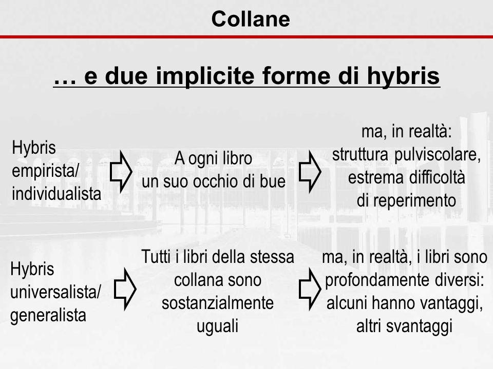 Collane … e due implicite forme di hybris Hybris universalista/ generalista Tutti i libri della stessa collana sono sostanzialmente uguali ma, in real