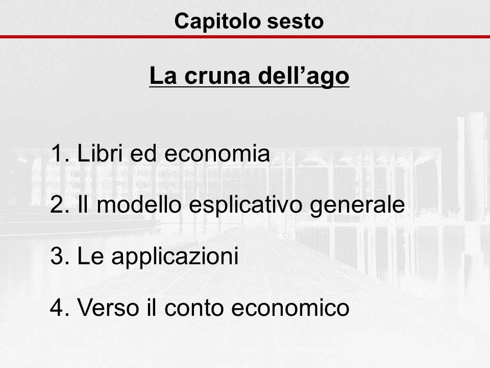 Capitolo sesto La cruna dellago 1. Libri ed economia 2. Il modello esplicativo generale 3. Le applicazioni 4. Verso il conto economico