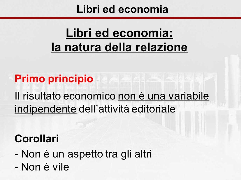 Libri ed economia Libri ed economia: la natura della relazione Primo principio Il risultato economico non è una variabile indipendente dellattività ed