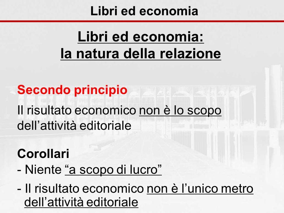 Libri ed economia Libri ed economia: la natura della relazione Secondo principio Il risultato economico non è lo scopo dellattività editoriale Corolla