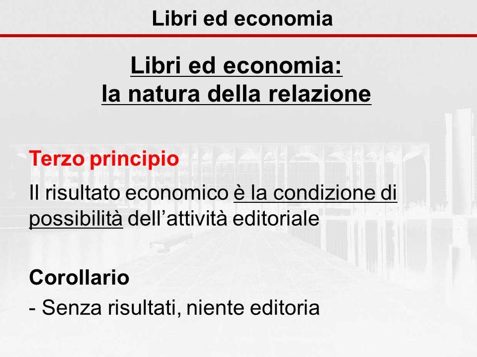 Libri ed economia Libri ed economia: la natura della relazione Terzo principio Il risultato economico è la condizione di possibilità dellattività edit