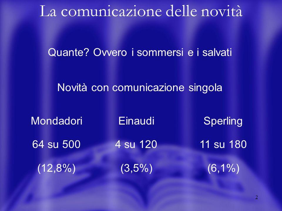 2 La comunicazione delle novità Quante.