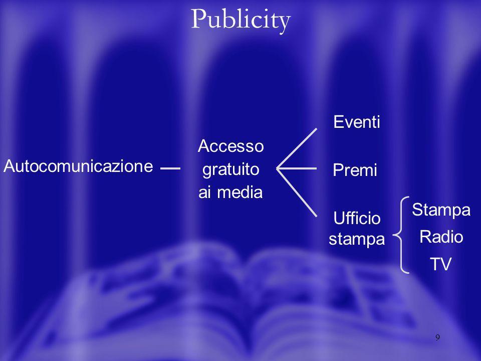 9 Publicity Eventi Premi Ufficio stampa Autocomunicazione Accesso gratuito ai media Stampa Radio TV