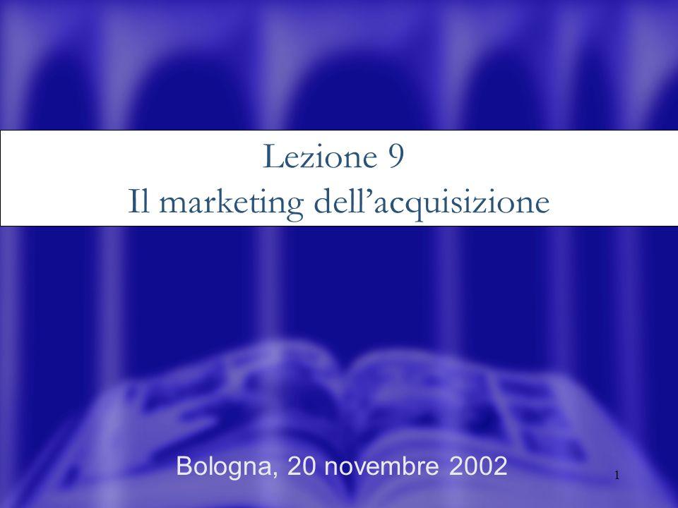 1 Bologna, 20 novembre 2002 Lezione 9 Il marketing dellacquisizione