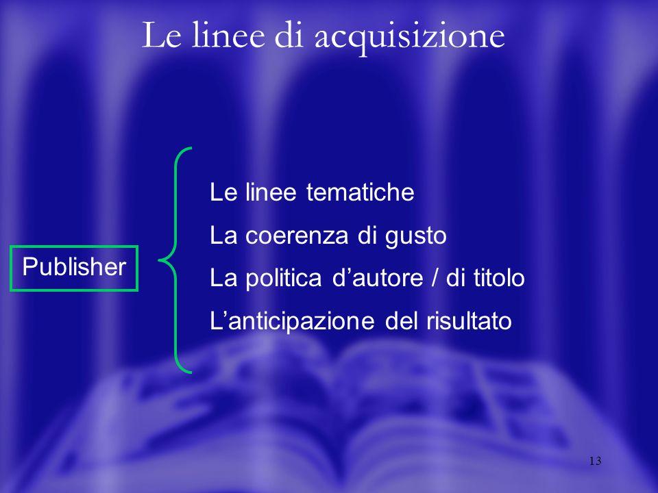 13 Le linee di acquisizione Le linee tematiche La coerenza di gusto La politica dautore / di titolo Lanticipazione del risultato Publisher