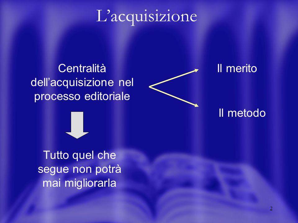 2 Lacquisizione Centralità dellacquisizione nel processo editoriale Il metodo Il merito Tutto quel che segue non potrà mai migliorarla