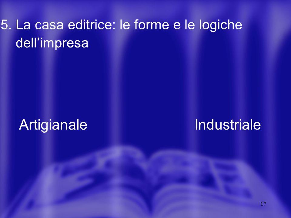 17 5. La casa editrice: le forme e le logiche dellimpresa ArtigianaleIndustriale
