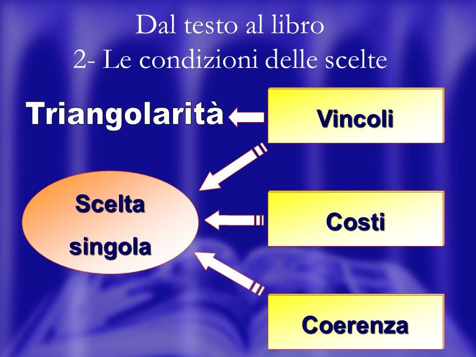 3 Dal testo al libro 2- Le condizioni delle scelte Scelta singola Vincoli Costi Coerenza