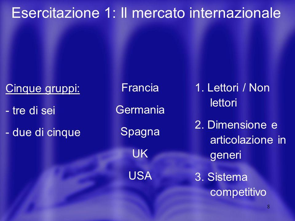 8 Esercitazione 1: Il mercato internazionale Cinque gruppi: - tre di sei - due di cinque Francia Germania Spagna UK USA 1. Lettori / Non lettori 2. Di