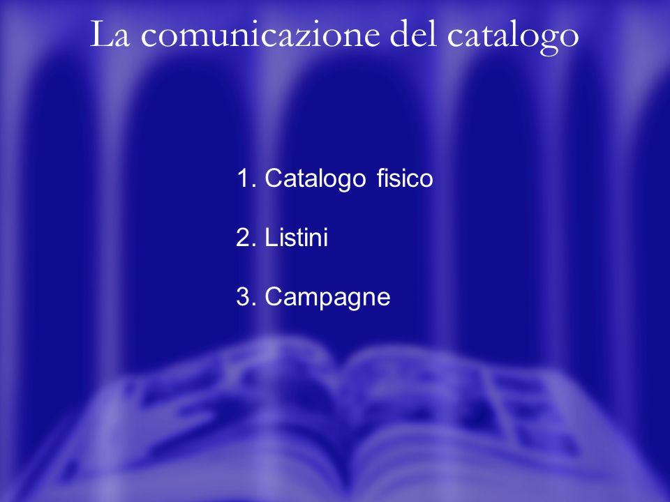 La comunicazione del catalogo 1. Catalogo fisico 2. Listini 3. Campagne