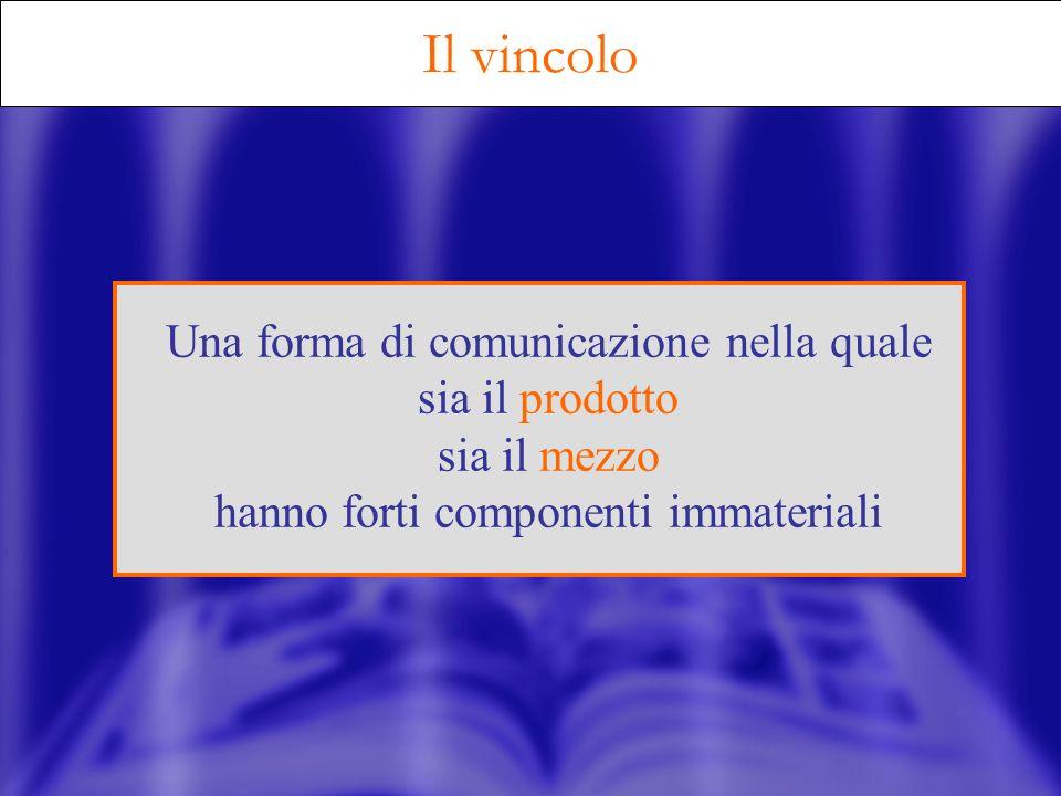 Il vincolo Una forma di comunicazione nella quale sia il prodotto sia il mezzo hanno forti componenti immateriali